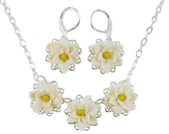 Magnolia Jewelry Set - Trio Magnolia Jewelry Collection, White Magnolia Wedding Jewelry