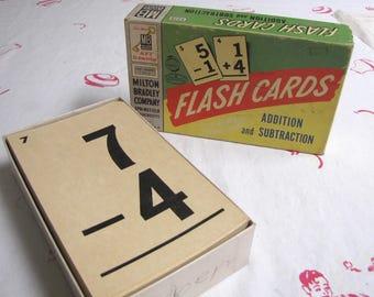 Vintage Flash Cards, Educational Flash Cards, Math Flash Cards, Vintage Education, with original Box, Milton Bradley,