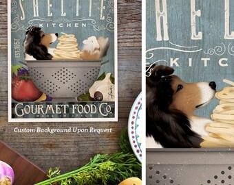 Sheltie shetland sheepdog Dog Kitchen artwork chef cooking dog illustration in graphic art print by Stephen Fowler