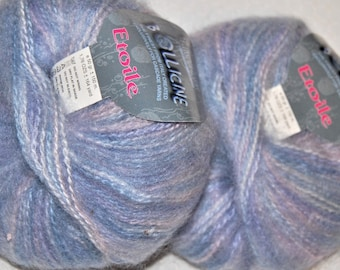 Kid Mohair and Acrylic Yarn, Sale Yarn, 3.52 oz., 328 Yards, Periwinkle, Blue, Lilac, Pink, 2 skeins, Sale Price