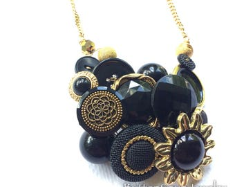 Gold and Black Classy Vintage Button Bib Chunky Necklace