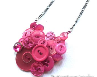 Bright Pink Vintage Button Fashion Necklace - Shades of Pink