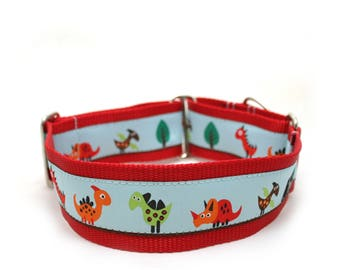 "2"" martingale collar Dino Land dog collar"