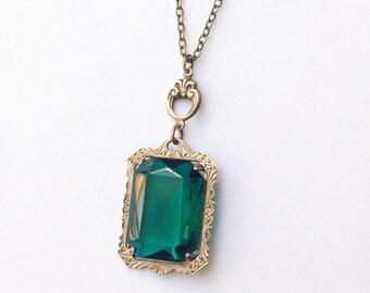 Mayfair necklace emerald crystal victorian bronze vintage style jewel edwardian gem antique brass elegant bridal custom colors