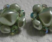 Green Beaded Clip Earrings