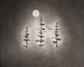 I Journey Best at Night CHARCOAL drawing PRINT