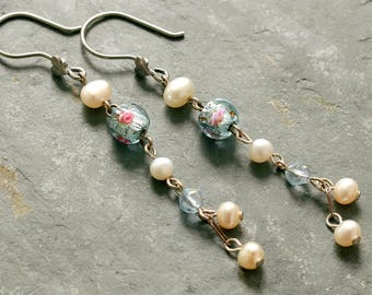 Long Pearl Sterling Silver Earrings, Silver Heart and Pearl Earrings, Blue Art Glass and Pearl Silver Earrings, Long Pearl Wedding Earrings