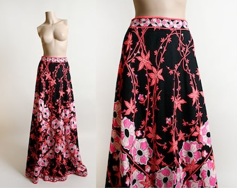 Vintage Emilio Pucci Skirt - 1970s Hot Pink Floral Print Maxi Skirt - Floor Length Saks Fifth Ave Pucci Boutique - Psychedelic - Small