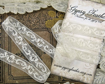 """Antique French Valenciennes Lace, Scrolling Flower...51"""" Vintage Lace Yardage Trim...Collage, Fabric Books, Crazy Quilt Supply ... LY171201"""