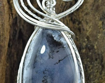 Sterling Silver Wire Wrapped Merlinte or Dendrite Agate Pendant