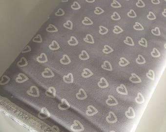 Penned Pals fabric, Gender Neutral Nursery, Gray White fabric, Heart Fabric in Gray, Choose your cut