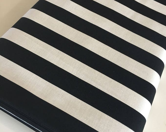 Black White Fabric, Stripe Fabric, Modern Fabric, Gift for Her, Fabric by the Yard, Yes Please Wide Stripe in Black White - Choose the cut