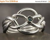 CLOSING SALE Blue sapphire Puzzle ring in sterling silver - Size 8 ready to be shipped