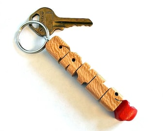 GAYLE - Sample Name HeartFob Keychain in Sycamore Wood