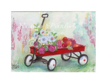 ACEO, Original, Little Red Wagon with flowers and Fruits
