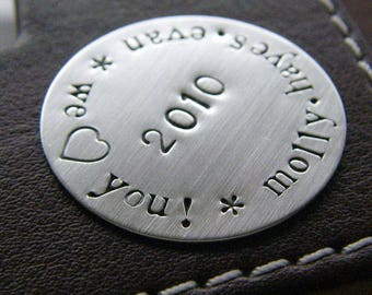 Custom Hand Stamped Jumbo Golf Marker- Personalized Hand Stamped Keepsake Token - Sterling Silver - Perfect Gift for Father's Day