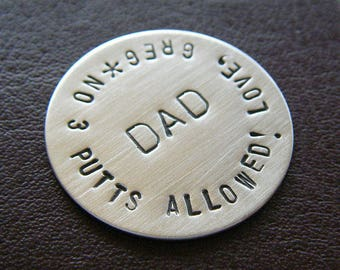 Custom Hand Stamped Golf Marker - Personalized Sterling Silver Hand Stamped Keepsake Token - Perfect Gift for Father's Day