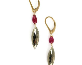 Ruby and Pyrite Earrings - Gold Fill - Pyrite Earrings - Lever backs