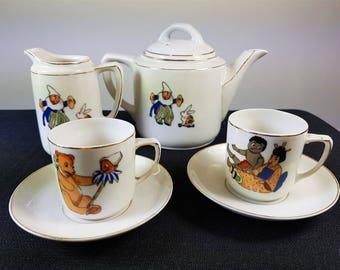 Vintage Children's Miniature Doll Dishes Tea Set Illustrated Teddy Bear Picnic 1930's Original Ceramic Porcelain Teapot Cups Saucers Creamer