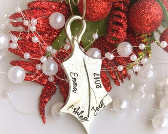Holly Leaf Ornament, Personalized Christmas Ornament, Custom Kids Name Ornament, Personalized Family Ornament, Custom Christmas Ornament
