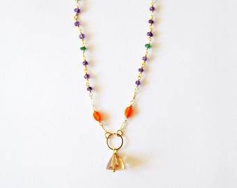 Gold Purple Green Beaded Necklace / 14k Gold Filled Geometric Boho Style Beaded Necklace / Beaded Hipster Gemstone Necklace /Wedding Jewelry