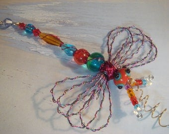 "My #9102 A Bug Eyed Pretty Red/Blue Alien Fluttering Dragonfly!.. Ornament! Size 3.50""Wx4""L ...for Home Decor!"