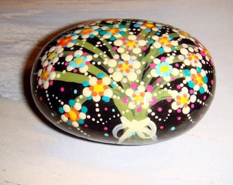 My #27 Starburst Flowers - Hand Painted Stone.. Makes a unique gift for painted stone lovers!