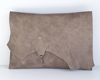 Raw edge leather clutch with vintage key - hare