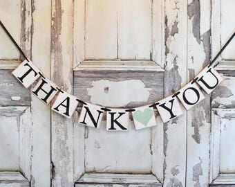 Mint Wedding Decor, Wedding Thank You, Photo Prop, Thank You Banner, Thank