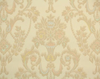 1930s Vintage Wallpaper by the Yard - Antique Victorian Damask Tan Yellow Pink Blue Flowers