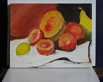 Original Painting Still Life Fruit Orange Signed