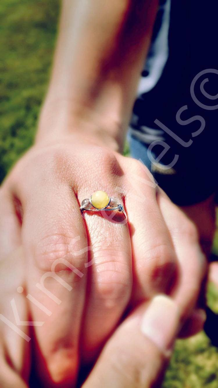 Aquamarine and Peruvian Pink Opal Sterling Silver Wire Wrapped Ring ...