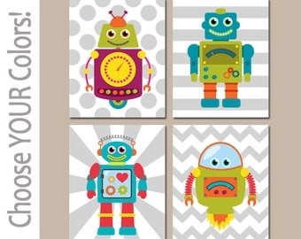 ROBOTS Wall Art, Robot Decor, Boy Bedroom Pictures, Robot Bathroom Decor,  CANVAS