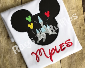 Personalized Mickey Castle Shirt- Personalized Mickey Shirt- Monogrammed Mouse Shirt