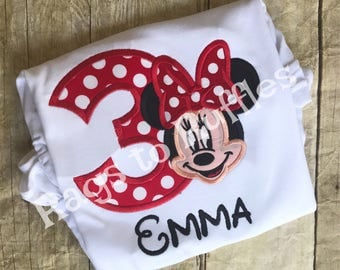 Minnie Birthday Shirt- Personalized Minnie 3rd Birthday Shirt - Personalized Mouse Birthday Shirt