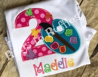 Paint Palette Birthday Shirt - Paint Party Birthday 2nd Birthday- 2nd Birthday Shirt