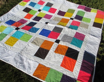 "NEW bright modern quilt with rainbow solids and ruler directed quilting 50"" square"