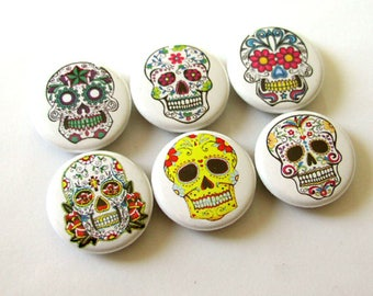"Sugar Skull Dia De Los Muertos 1"" refrigerator MAGNETS Day of the Dead skeleton calavera stocking stuffer flair party favors shower gifts"