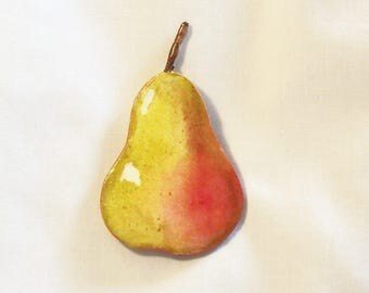 Hand Painted Pear - Refrigerator Magnet - Watercolor Painting - Fruit Magnet - Bartlett Pear Magnet - Kitchen Decor - Home Decor