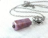 SALE Pink Tourmaline  Necklace Oxidized Silver Gemstone Jewelry October Birthstone Necklace  Gem Stone Pendant