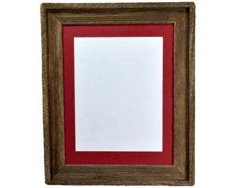 8.5x11 red mat in brown and gray reclaimed wood picture frame 11x14 without mat
