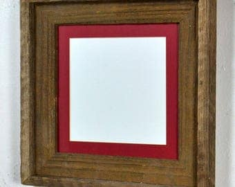 Rustic wood picture frame 8x8 with red mat for 6x6 photo complete 20 mat colors to choose from free US shipping