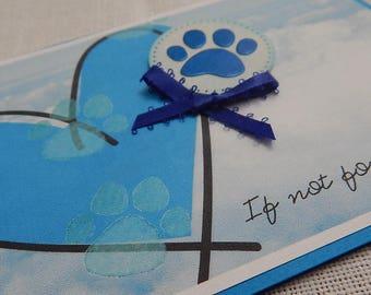 Handmade Pet Sympathy Card: complete card, handmade, balsampondsdesign, dog sympathy, cat sympathy, pet sympathy, tones of blue, blue sky