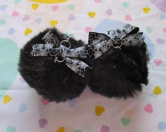 Pom pom earrings, black faux fur black spiderweb bow 90s gothic lolita goth jewelry gifts under 20