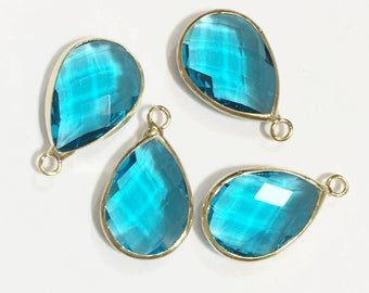 4 glass faceted teardrop pendant with Gold frame, Clear  Blue glass drops 22x14mm, framed glass teardrops