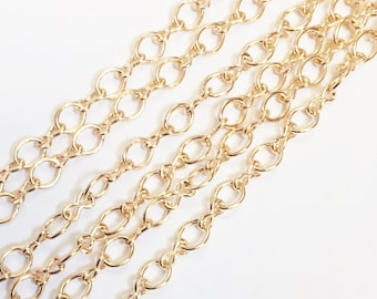 Bulk 45ft of light gold plated chain, gold plated  steel large  figure 8 chain 4.1X 6.1mm, bulk gold chain