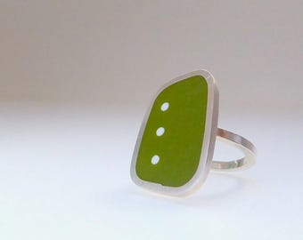 Green Statement Ring - Rectangle Silver & Resin Ring - Graphico Dot Ring