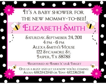 20 Personalized Baby Shower Invitations  - Mommy to BEE