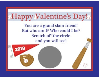 32 Personalized Scratch Off Valentine's Day Cards for Kids - Baseball Valentines