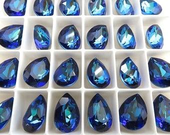 2 Bermuda Blue Swarovski Crystal Stone Pear 4320  14mm x 10mm